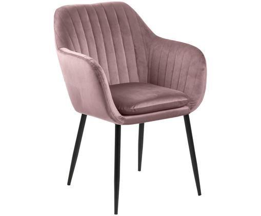 Krzesło z podłokietnikami z aksamitu Emilia, Tapicerka: aksamit poliestrowy 2500, Nogi: metal lakierowany, Różowy, czarny, S 57 x G 59 cm