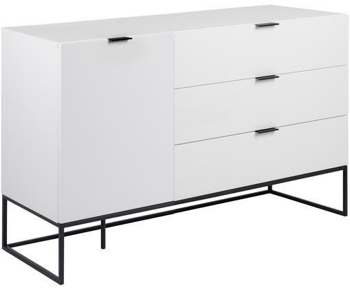 Wit dressoir Kobe met laden, Wit, zwart, 134 x 80 cm