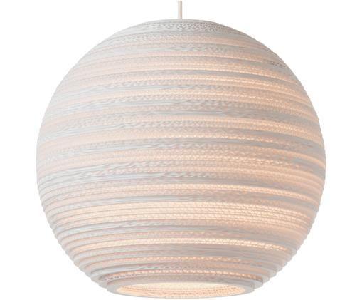 Pendelleuchte Moon aus recycelter Wellpappe, Lampenschirm: Handgefertigte Wellpappe,, Baldachin: Metall, beschichtet, Lampenschirm: Weiß Baldachin: Weiß, Ø 36 x H 31 cm