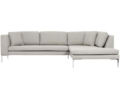 Ecksofa Emma, Bezug: Polyester 100.000 Scheuer, Gestell: Massives Kiefernholz, Füße: Metall, galvanisiert, Beige, B 302 x T 220 cm