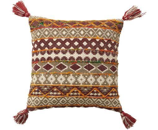 Cuscino ricamato Mahesana, con imbottitura, Beige, rosso, giallo, verde