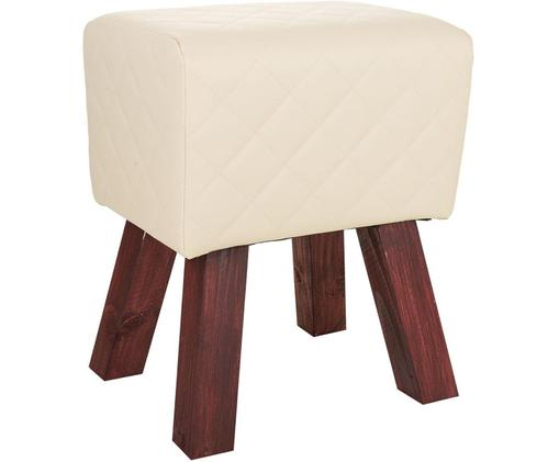 Taburete tapizado Leire, Patas: madera, Asiento: cuero sintético, Beige, An 36 x Al 47 cm