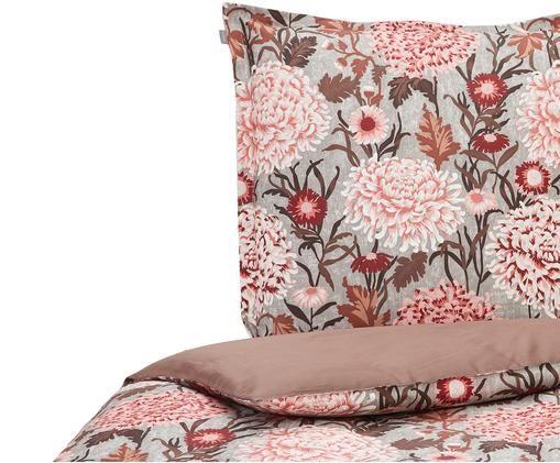 Wendebettwäsche Dahlia mit Blumenmuster, Baumwolle, Grau, Dunkles Weinrot, Rosatöne, 135 x 200 cm