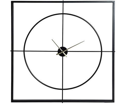 XL Wanduhr Square, Metall, beschichtet, Schwarz, 105 x 105 cm