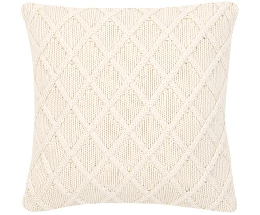 Funda de cojín de punto Elly, 100%algodón, Blanco crema, An 40 x L 40 cm