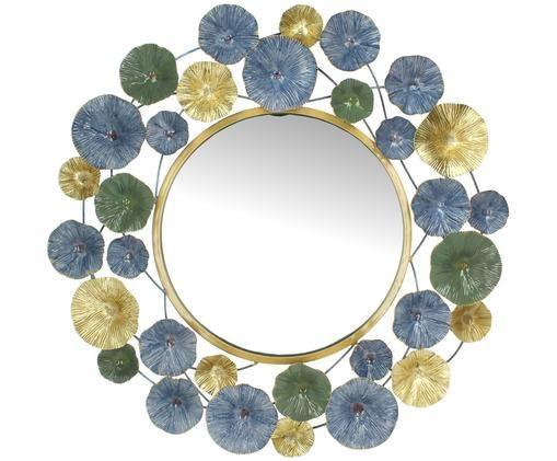 Okrągłe lustro ścienne z metalu Flower, Odcienie mosiądzu, Ø 70 x G 4 cm