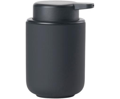 Dozownik do mydła z kamionki Omega, Czarny, matowy, Ø 8 x W 13 cm