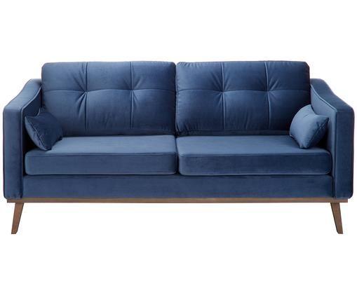 Sofa z aksamitu Alva (2-osobowa), Tapicerka: aksamit (wysokiej jakości, Stelaż: drewno sosnowe, Nogi: lite drewno bukowe, barwi, Tapicerka: marynarski granat Nogi: drewno bukowe, bejcowane na ciemno, S 160 x G 94 cm