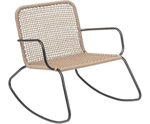 Schaukelstuhl Mundo mit Kunststoff-Geflecht, Gestell: Metall, pulverbeschichtet, Sitzfläche: Polyethylen, Schwarz, Beige, B 73 x T 89 cm