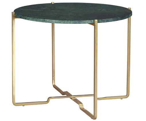 Okrągły stolik pomocniczy z marmuru Margot, Blat: kamień marmurowy, Stelaż: metal malowany proszkowo, Blat: zielony, marmurowy Stelaż: odcienie złotego, Ø 59 x W 46 cm