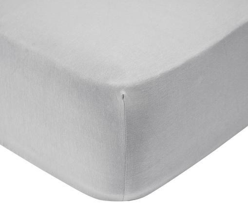 Lenzuolo con angoli per il letto continentale in jersey-elastan Lara, 95% cotone, 5% spandex, Grigio chiaro, Larg. 180 x Lung. 200 cm