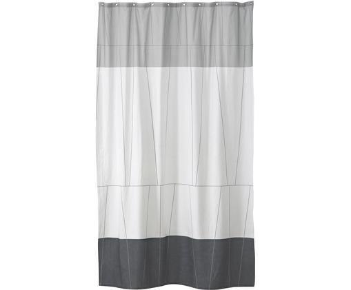 Schmaler Duschvorhang Verdi aus Baumwoll-Mix, Grautöne, Weiß, 150 x 200 cm