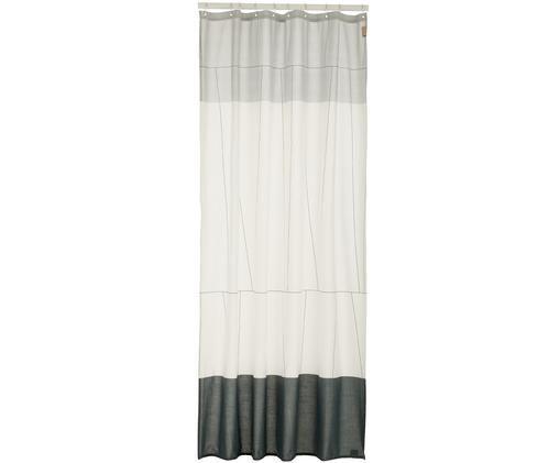 Wąska zasłona prysznicowa z mieszanki bawełny Verdi, Odcienie szarego, biały, S 150 x D 200 cm