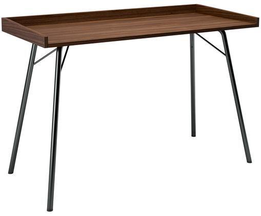 Bureau Rayburn, Tafelblad: spaanplaat, walnoothoutfi, Frame: gepoedercoat staal, Walnoothoutkleurig, zwart, 115 x 78 cm