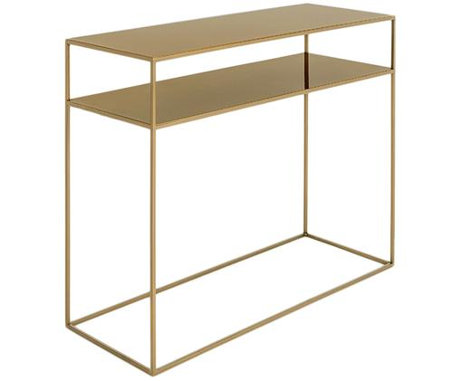 Metalen sidetable Tensio Duo in messingkleur, Gepoedercoat metaal, Messingkleurig, B 100 x D 35 cm