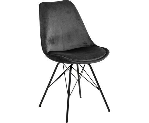 Sedia imbottita in velluto Eris, Velluto di poliestere, metallo, Grigio scuro, nero, Larg. 49 x Prof. 54 cm