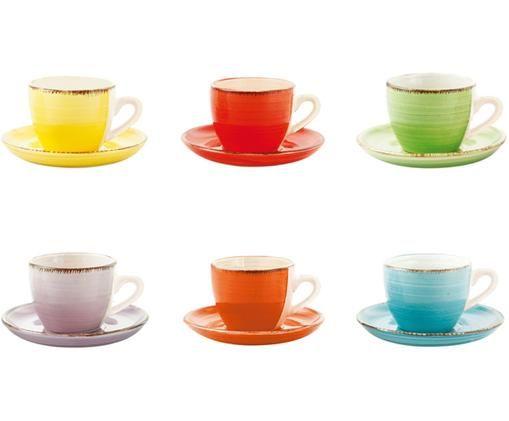Espressotassen mit Untertassen Baita, 6 Stück, Steingut, Gelb, Rot, Hellgrün, Lila, Orange, Hellblau, 90 ml