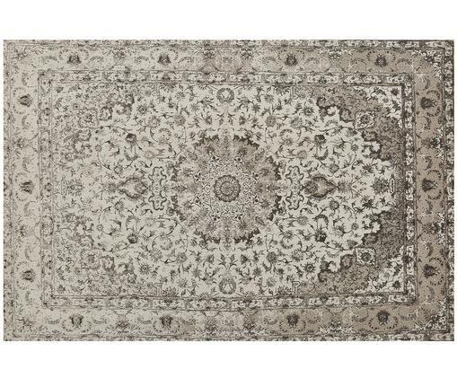 Handgeweven chenille vloerkleed Sofia, Bovenzijde: 95% katoen, 5% polyester, Onderzijde: 100% katoen, Beige, grijs, 200 x 300 cm