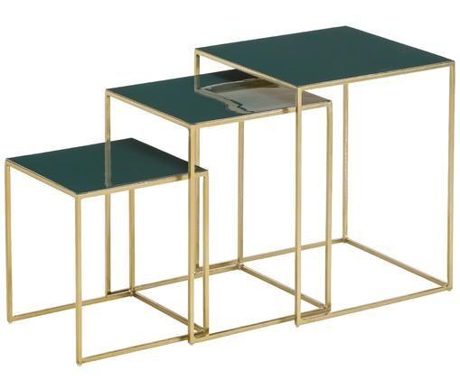 Tables d'appoint gigognes en émail Amalia, 3élém., Plateau: vert foncé Structure: couleur dorée