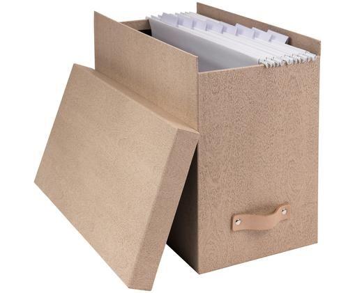 Hängeregister-Box Johan II, 9-tlg., Organizer: Fester Karton, mit Holzde, Griff: Leder, Organizer außen: BeigeOrganizer innen: SchwarzGriff: Beige, 19 x 27 cm