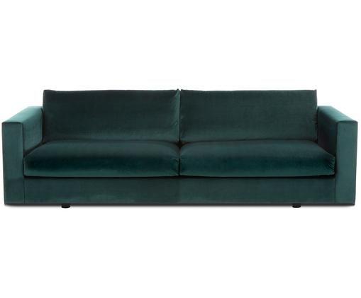 Canapé en velours Balmira (3places), Revêtement: vert foncé Pieds: noir, mat