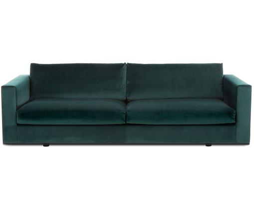 Samt-Sofa Balmira (3-Sitzer), Bezug: Samt (Polyester) 100.000 , Gestell: Massives Kiefernholz, Füße: Massives Birkenholz, lack, Dunkelgrün, B 240 x T 96 cm