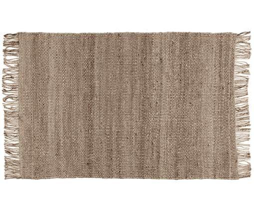 Handgewebter Jute-Teppich Natural mit Fransen, Flor: Jute, Jute, B 120 x L 180 cm (Größe S)