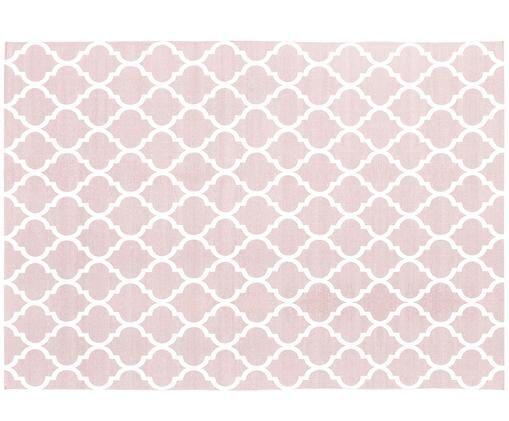 Handgewebter Baumwollteppich Amira in Rosa/Weiß, Baumwolle, Rosa, Cremeweiß, B 160 x L 230 cm (Größe M)