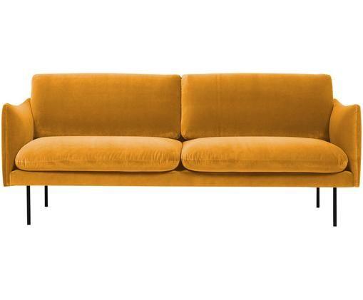 Sofa z aksamitu Moby (2-osobowa), Tapicerka: aksamit (wysokiej jakości, Stelaż: lite drewno sosnowe, Nogi: metal malowany proszkowo, Musztardowy, S 170 x G 95 cm
