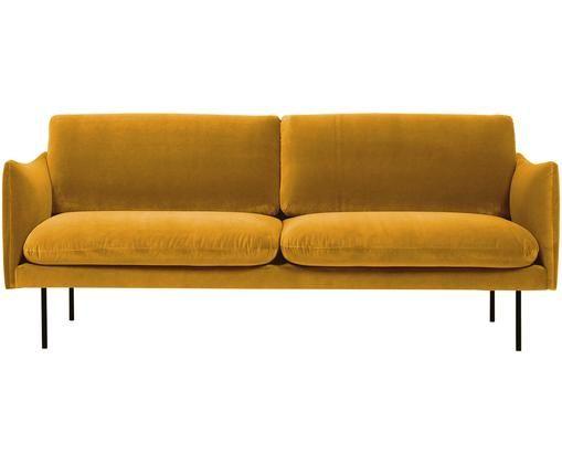 Canapé en velours Moby (2places), Velours jaune moutarde