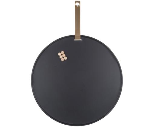 Prikbord Perky, Gelakt metaal, Zwart, Ø 50 x T 1 cm