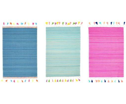 Set tovagliette Tassel, 3 pz., Bambù, viscosa, Turchese, blu, rosa, Larg. 30 x Lung. 40 cm