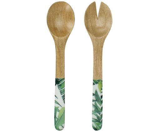 Couverts à salade en bois de manguier Alina, 2élém., Bois de manguier, vert, blanc