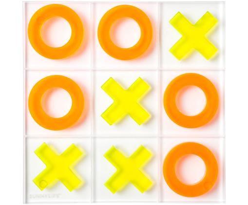Gra planszowa Tic Tac Toe Lucite, 10 elem., Akryl, Neonowy żółty, neonowy pomarańczowy, S 22 x G 20 cm