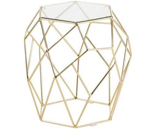 Tavolino d'appoggio Miu, Piano d'appoggio: vetro Struttura: dorato, lucido
