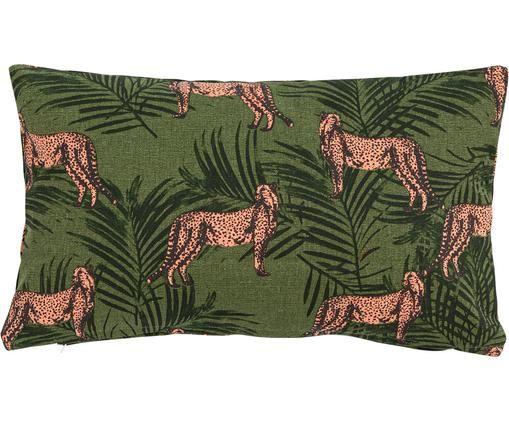 Kissen Pink Panther, mit Inlett, Baumwolle, Khaki, Rosa, Schwarz, 30 x 50 cm