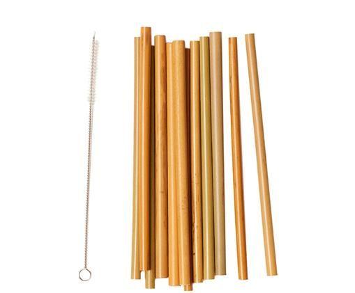 Komplet słomek z drewna bambusowego, 14 elem., Brązowy, beżowy, czarny, Różne rozmiary