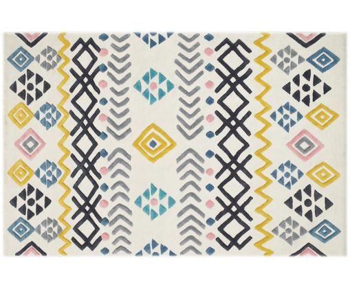 Teppich Mexico mit buntem Hoch-Tief-Muster, Wolle, Elfenbein, Mehrfarbig, B 120 x L 180 cm (Größe S)