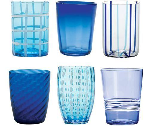 Verres à eau soufflés bouche en différents tons bleus Melting Pot Sea, 6élém., Tons bleus, transparent