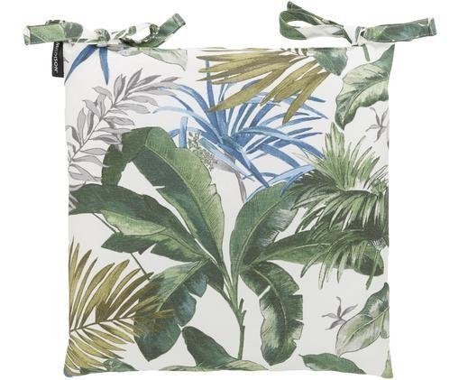 Sitzkissen Bliss mit tropischem Print, Bezug: 50% Baumwolle, 45% Polyes, Creme, Grün- und Blautöne, 45 x 45 cm