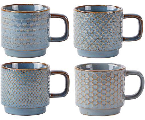 Tassen-Set Lara, 4-tlg., Steingut, Blaugrau, Braun, Ø 8 x H 8 cm