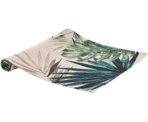 Runner da tavolo Leaves, Poliestere, Tonalità verdi e blu, beige, Larg. 45 x Lung. 150 cm