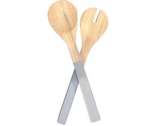 Komplet sztućców do sałatek Bambus, 2 elem., Drewno bambusowe, Szary, D 30 cm
