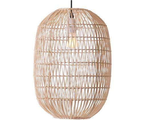 Lampada a sospensione Melody, Paralume: rattan, Baldacchino: materiale sintetico, Marrone chiaro, Ø 30 x Alt. 42 cm