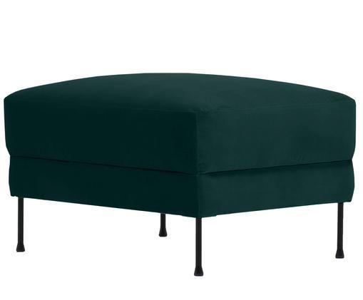 Sofa-Hocker Fluente aus Samt, Bezug: Samt (Hochwertiger Polyes, Gestell: Massives Kiefernholz, Füße: Metall, lackiert, Dunkelgrün, 75 x 45 cm