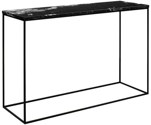 Marmeren wandtafel Gleam, Tafelblad: marmer, Frame: gelakt metaal, Zwart, 120 x 76 cm