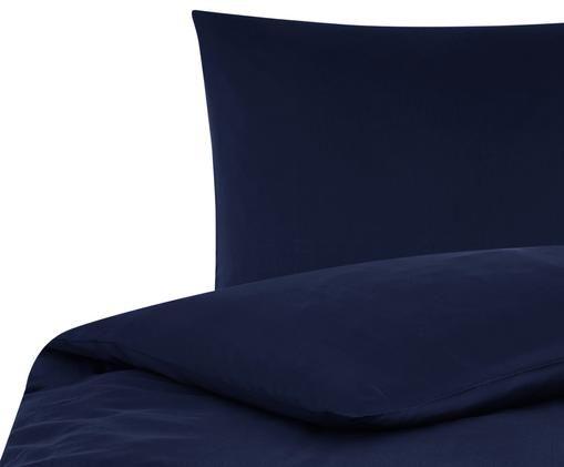 Pościel z satyny bawełnianej Comfort, Ciemny niebieski