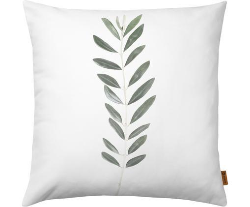 Poszewka na poduszkę Botanical, Poliester, Biały, zielony, S 50 x D 50 cm
