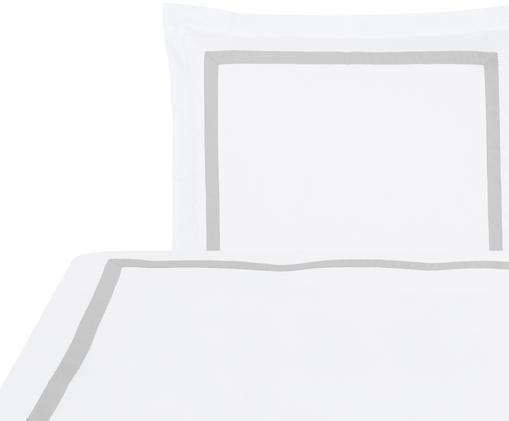 Baumwollsatin-Bettwäsche Nora in Weiß/Hellgrau, Weiß, Hellgrau, 135 x 200 cm