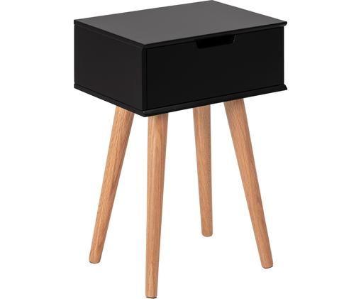 Nachttisch Mitra mit Schublade, Beine: Eichenholz, Schwarz, 40 x 62 cm